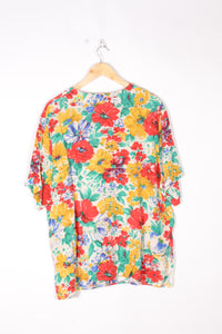 Flower Printed Shirt Vintage 90s Multicolored Large L
