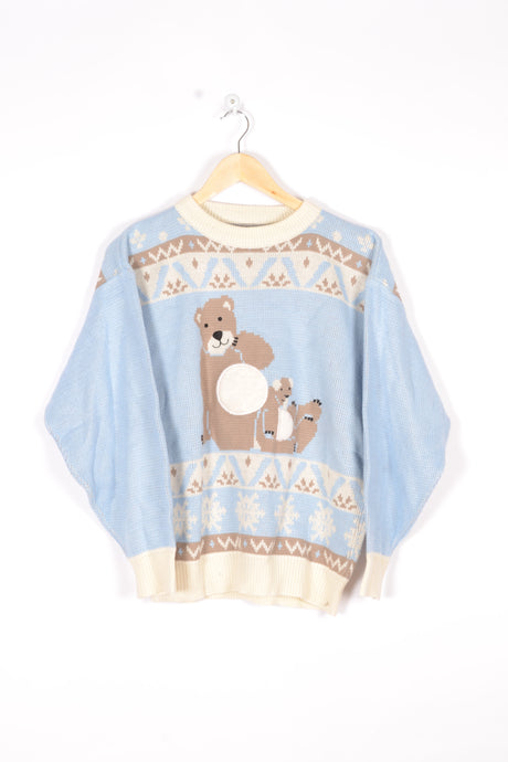 Teddy Bear Jumper Vintage 90s Blue/White Medium M
