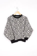 Load image into Gallery viewer, Geometric Sweater Vintage 80s Black/White Medium M