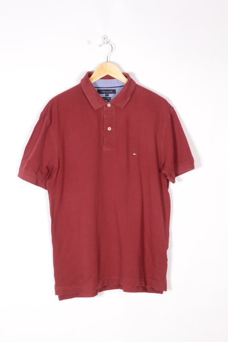 Tommy Hilfiger Polo Shirt Vintage 00s 90s Red Large M