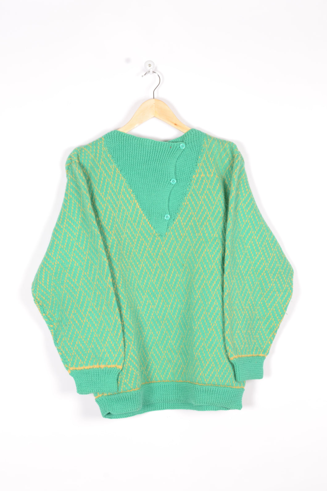 70s Knitted Sweater Vintage Green/Yellow Medium M