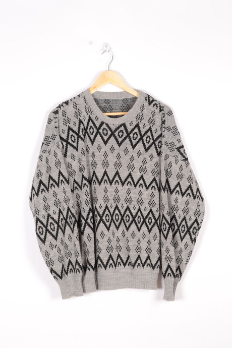 Abstract Aztec Pattern Sweater Vintage 90s Grey/Black Large L