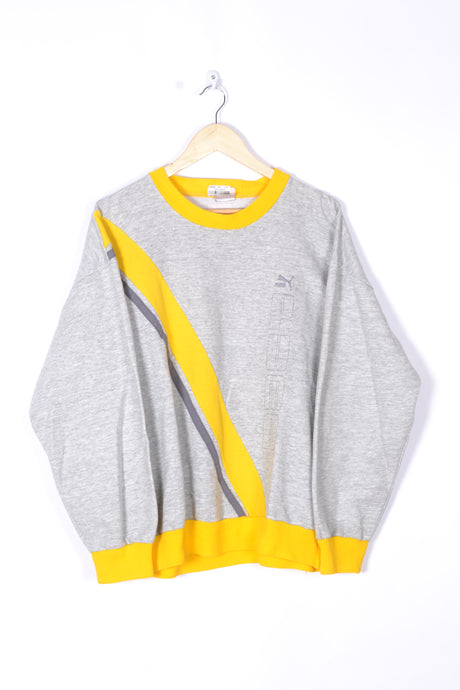Puma Sweatshirt Vintage 80s 90s Grey/Yellow Medium M