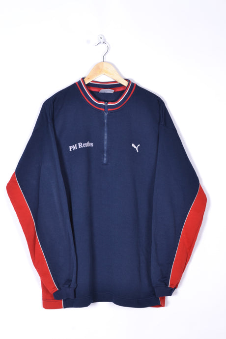 Puma Half Zip Sweatshirt Vintage 90s Blue/Red Oversized XL XXL