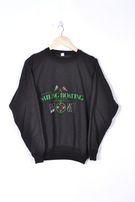 90s Retro Sweatshirt Sailing Boat Vintage Black/Green Medium M