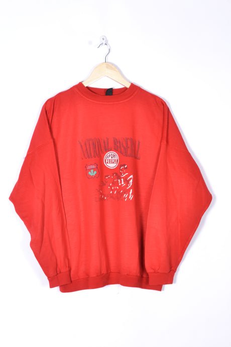 Baseball Canada Sweatshirt Vintage 90s Red Medium M