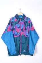 Load image into Gallery viewer, 80s Neon Rain Jacket Vintage Oversized XL
