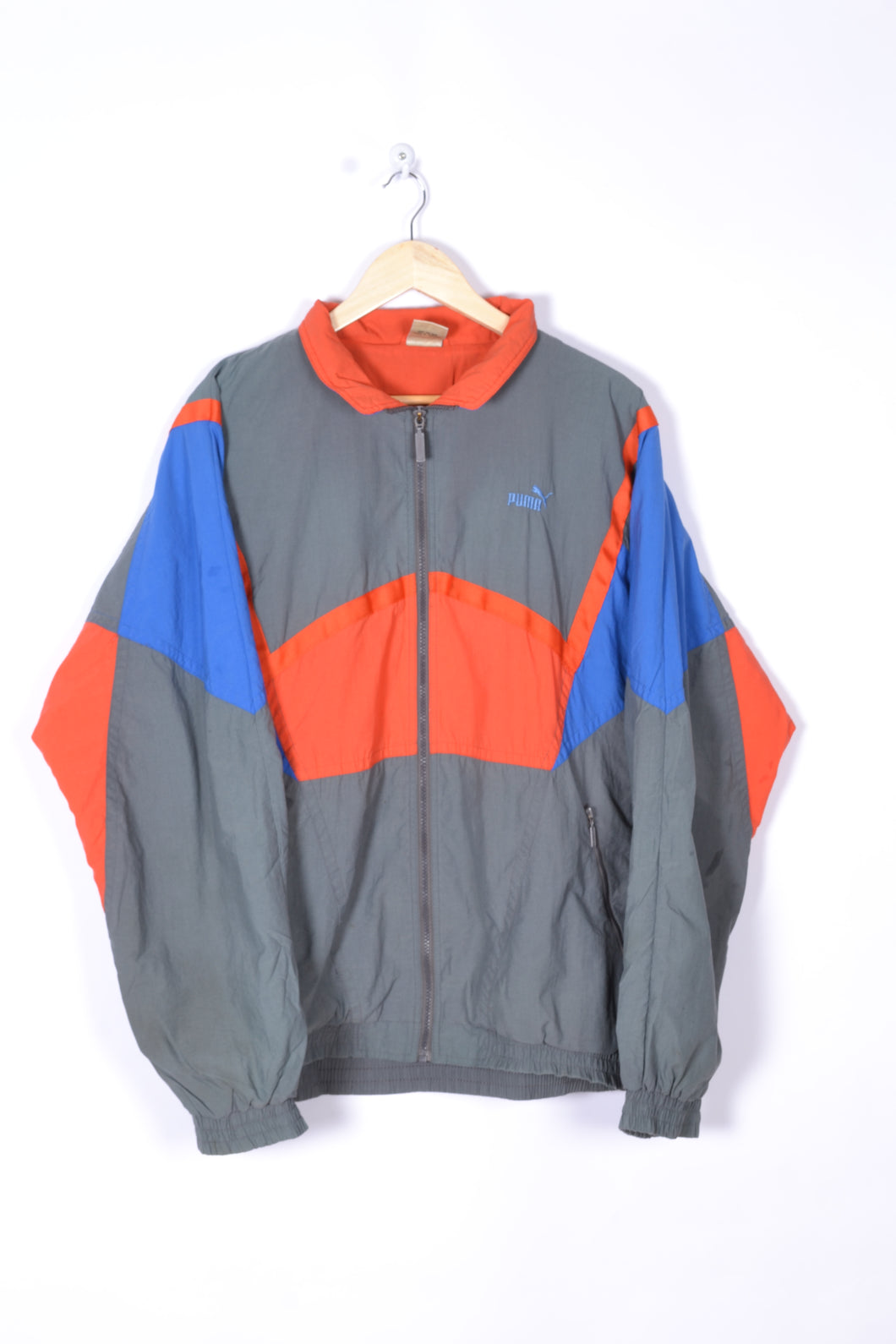 Puma Vintage Shell Jacket Grey/Orange/Blue Large XL
