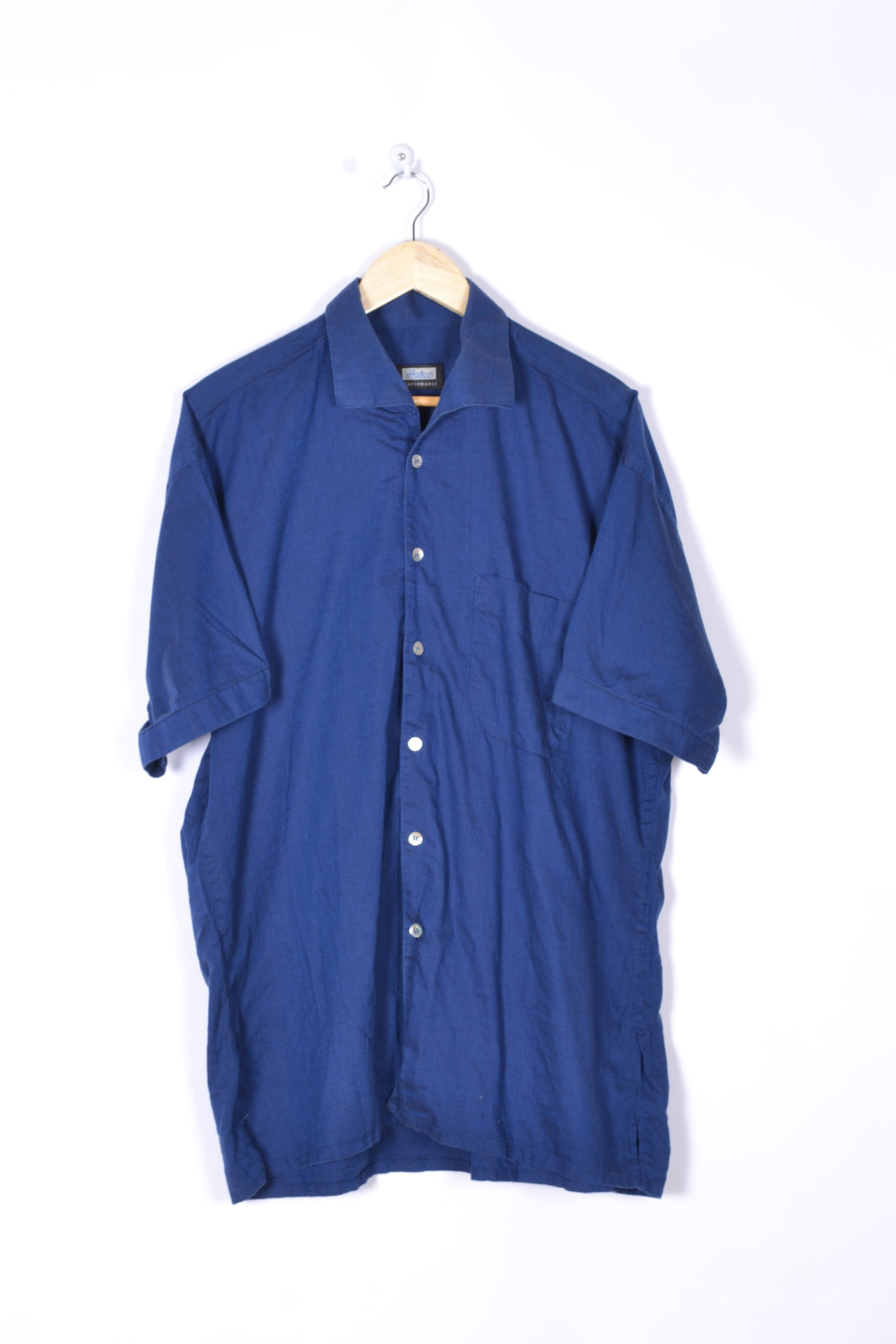 Blue Short sleeves Men's Shirt Vintage 90s XL