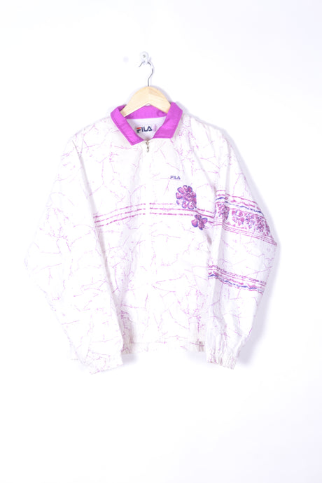 FILA Shell Jacket Windbreaker Vintage 80s White/Pink Small S M