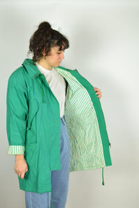90s Long Green Hooded Parka Medium M L