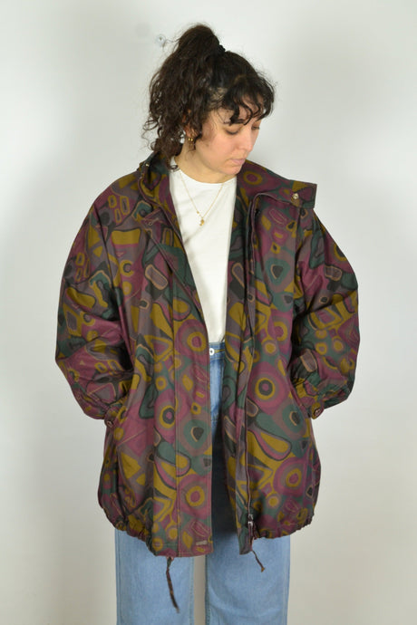 Abstract Pattern Hooded Jacket Vintage 80s Large L