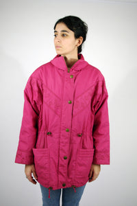 Long Jacket Vintage 80s Pink Large L