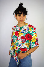 Load image into Gallery viewer, Flower Printed Shirt Vintage 90s Multicolored Large L
