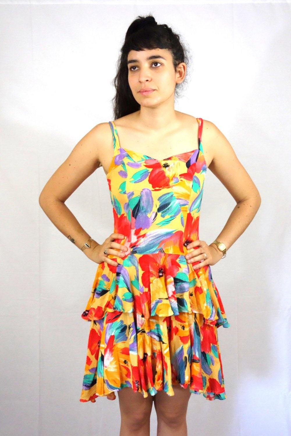 Printed Summer Dress with Frills Vintage 80s Medium M