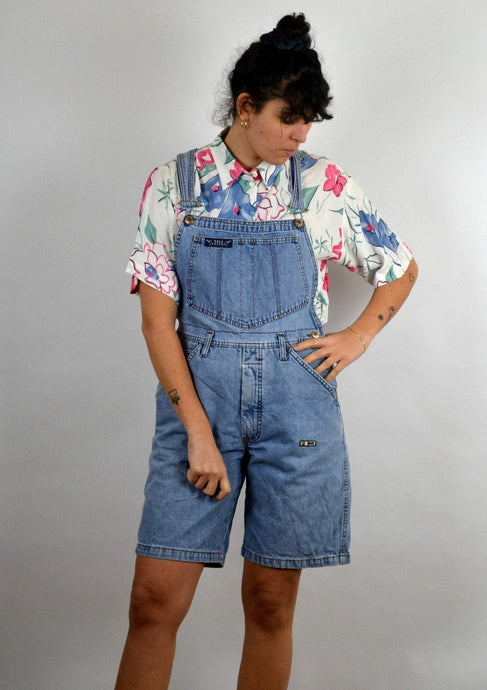 Denim Short Overalls Vintage 90s Medium M