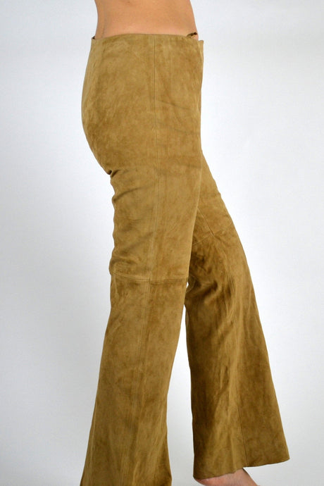 Vintage 70s leather flared trousers Medium