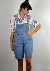 Denim Short Overalls Vintage 90s Small Medium M