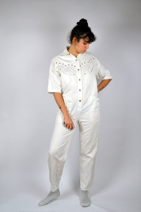 White Worker Romper Vintage 80s Overalls Medium M