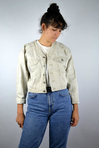 Crop Jean Jacket Vintage 90s Beige Small S