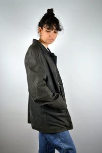 Long Leather Suede Jacket Vintage 80s 90s Black Medium M
