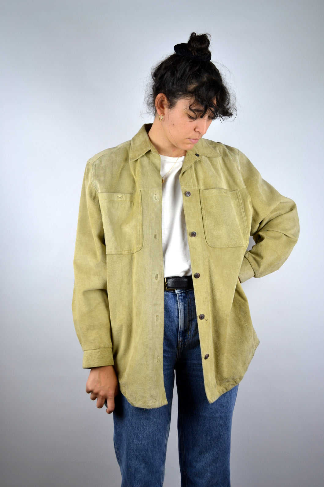 Long Beige Suede Jacket Vintage 70s Medium M