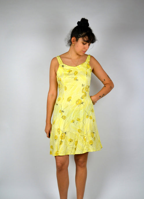 Floral Printed Summer dress Vintage 90s Pastel Yellow Medium M