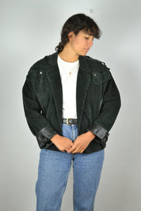 CLAUDE MONTANA Suede Leather Jacket 80s Medium M