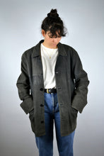 Load image into Gallery viewer, Long Leather Suede Jacket Vintage 80s 90s Black Medium M