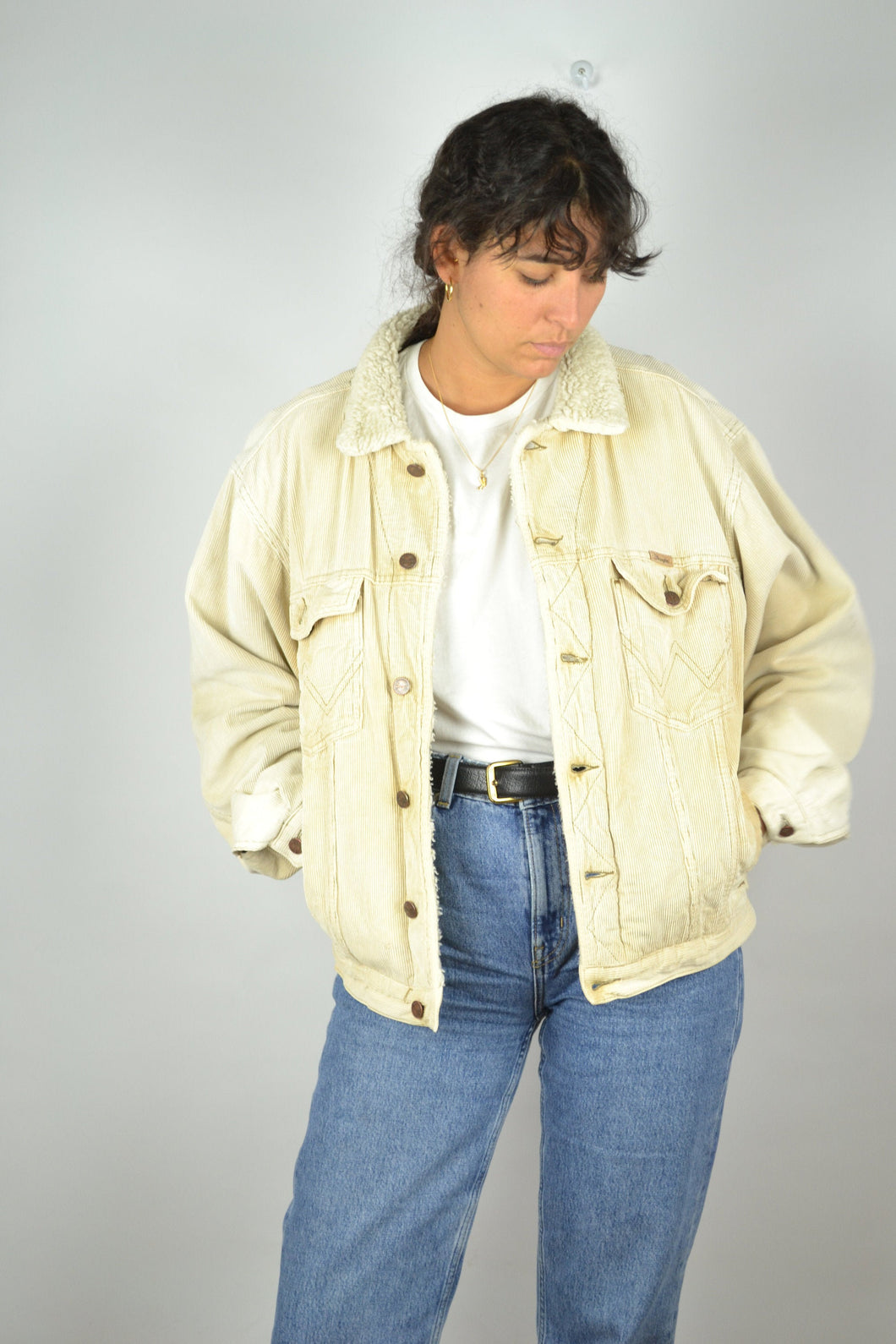 Wrangler Beige Corduroy Padded Jacket 90s Medium M