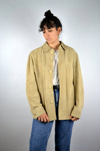 Long Suede Jacket Vintage 70s Beige Medium M