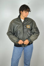 Load image into Gallery viewer, Leather Bomber Jacket Vintage 90s 80s Black/Grey Medium M