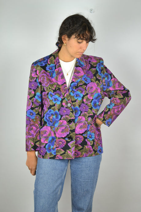 80s Women Suit Jacket Vintage  Purple/Pink Medium M