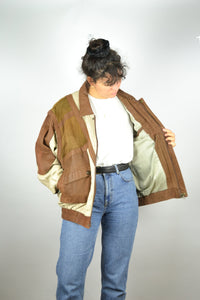 Suede and Linen Bomber Jacket Vintage 70s Large L