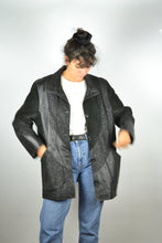 Load image into Gallery viewer, Long Black Suede Jacket Vintage 80s Medium M L