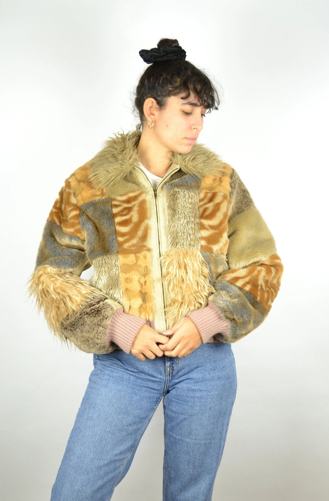 RARE 70s Patchwork Faux fur Jacket Vintage 70s Medium M
