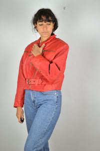 Red Women's Biker Jacket Vintage 80s Medium M