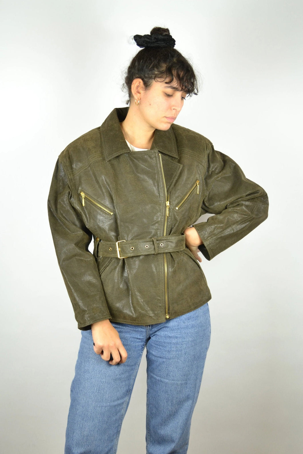 Women's Biker Leather Jacket Vintage 80s Medium M