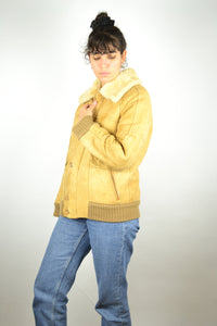 Sheepskin Suede Bomber Jacket 70s Vintage Medium M