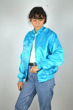 Load image into Gallery viewer, Light Teddy Bomber Jacket Vintage 80s Neon Blue Medium M