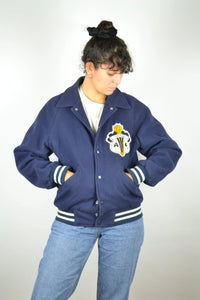 Oldschool Blue Baseball Teddy Jacket Vintage 80s Small S XS