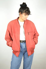Load image into Gallery viewer, Leather Bomber Jacket Vintage 80s Red Medium M