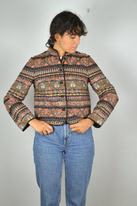 Women's Cropped Jacket Vintage 80s Eastern Europe Pattern Medium M