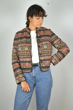 Load image into Gallery viewer, Women's Cropped Jacket Vintage 80s Eastern Europe Pattern Medium M