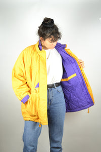 Long Classic Yellow Parka Jacket Vintage 90s Medium M Large L