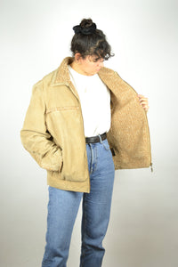 Aviator Shearling Leather Jacket Vintage 80s Brown Medium M