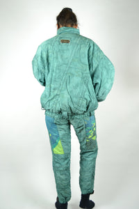 80s Ski Suit Winter Combi One piece Vintage Green Medium M