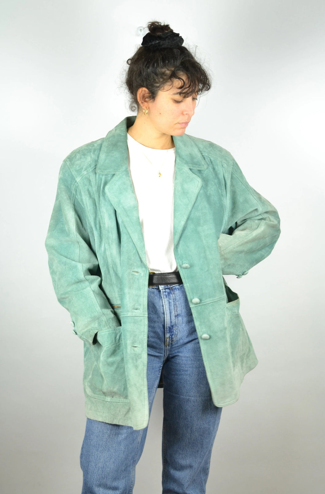 Long Green Pastel Suede Jacket Vintage 70s Medium M