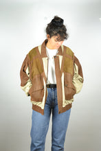 Load image into Gallery viewer, Suede and Linen Bomber Jacket Vintage 70s Large L
