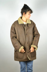 Sheepskin Shearling Jacket Vintage 70s Large L
